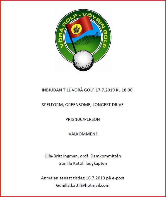 Spelresa till Vörå Golfs damkväll 17.7 / Pelireissu Vöyriin