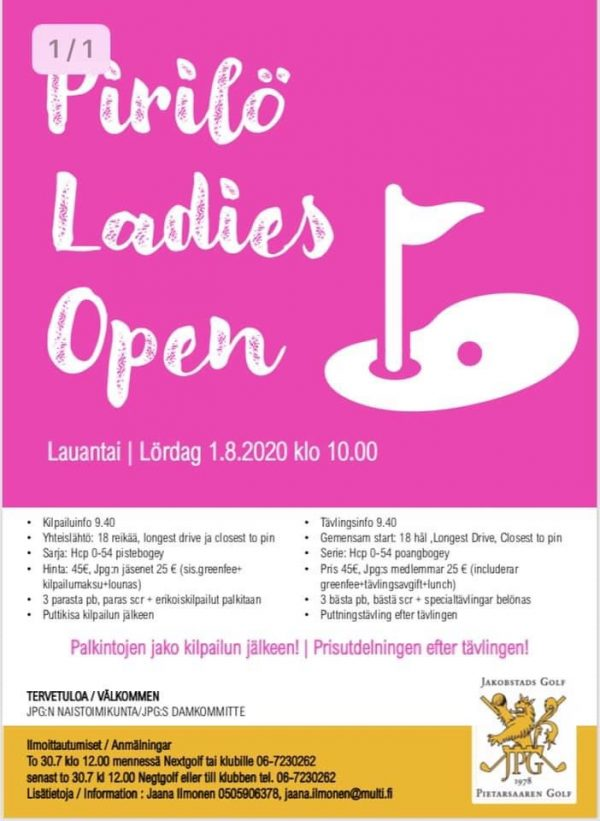 Pirilö Ladies Open 2020 lö 1.8